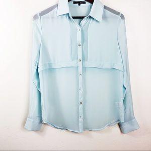 Ro & De Light Blue Polyester Button Down Top